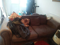 lovely brown cloth sofas to give away, good condition, no rips, no stains