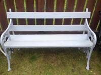 Grey Victorian cast iron garden bench