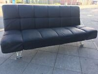 BLACK LEATHER SOFA BED FUTON CHROME LEGS VERY COMFY GOOD CLEAN CONDITION DELIVER MANCHESTER