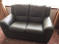 3 PIECE SUITE MID GREEN LEATHER 2x2 SEAT 1x SEAT 1x FOOT STOOL