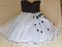 Party/Prom Dress - Black and White with decoration - Size 10