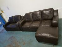 DARK BROWN MODERN LEATHER SET CORNER SOFA & 2 SEATER SOFA / LOUNGE SUITE / SETTEE DELIVERY AVAILABLE