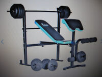 FOLDING BENCH WITH 35KG WEIGHTS , 8 MONTHS OLD IMMACULATE CONDITION