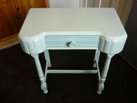 Shabby chic art deco style side/occasional/telephone table (with drawer) in two-tone duck egg