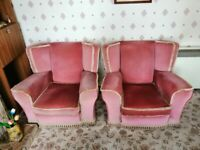 Free 1960s Three Piece Suite in Deep Pink
