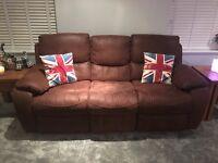 3 & 2 seater reclining sofas + lazy boy rocking/reckinging chair
