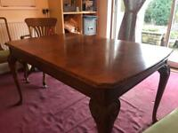 Antique Extending Dining Room Table with 6 Chairs