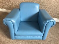 Childrens Armchair (Rocker) and Foot Stool (Blue)
