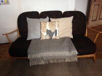 Original vintage Ercol Windsor beech / blonde wood 3 seater sofa (Eames, retro, 60s, 50s)