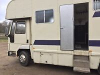 Iveco Ford Cargo 7.5 tonne 2 stall Horsebox. MOT until January 2019. Hampshire.