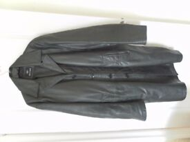 Italian Full Length Leather Black coat