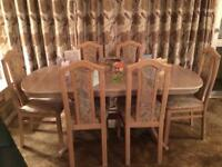 Table & Six upholstered Chairs