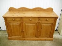 Rustic Carved Stripped Pine Sideboard Country Farmhouse Style
