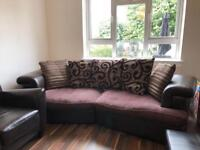 Two seater sofa & one seater leather chair