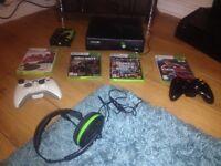 XBox 360 inc 7 games(GTAV,FIFA17,COD etc), turtle beach headset & dual plug n play charge kit, boxed
