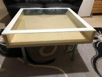 Wooden Table With Glass TOP Coffee Tea Dining