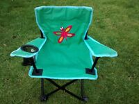 Two kids camping chairs, differing designs
