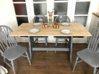 OAK TABLE AND 4 CHAIRS FREE DELIVERY LDN 🇬🇧SHABBY chic