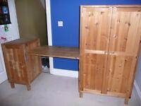 IKEA PINE KIDS WARDROBE / DESK / CUPBOARD STORAGE BEDROOM FITS UNDER LOFT BED