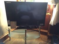 SHARP 40 INCH LCD TV WITH GLASS AND CHROME STAND EXCELLENT CONDITION.