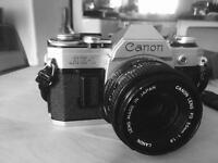 Canon AE-1 35mm SLR with 50mm FD 1.8 lens