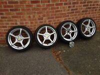 """Wolfrace 17""""Alloy Wheels and Tyres Multifit 205/40 R17"""
