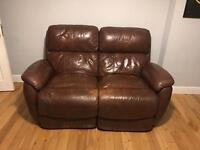 DFS Brown Leather a Electronically Reclining Sofa