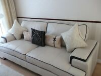 Three and Two Seater Leather Sofas in Cream with brown trim
