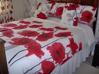 2 SETS OF POPPY DOUBLE DUVET COVERS WITH CUSHIONS