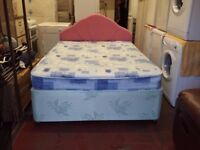2 drawer double divan bed base with mattress and headboard