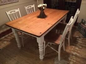 Antique pine dining table & chairs Shabby Chic
