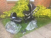 iCandy Peach pram with adapters and bassinet