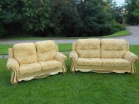 Stunning Italian 3 + 2 Seater Gold Sofa
