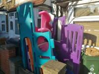 Kids plastics house with two slides