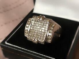 Men's 14k white gold 1.5 carat diamond ring