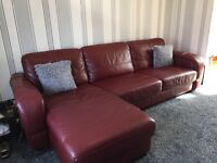Red Leather Corner Sofa Bed Suite with Storage