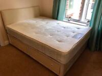 Double bed with 4 drawers and orthopaedic mattress for free