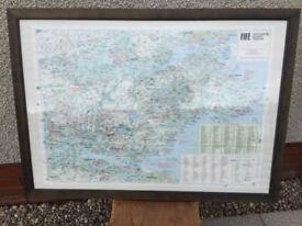 Large framed ordnance survey map of Fife