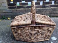Quality Double Lidded Willow Wicker Basket