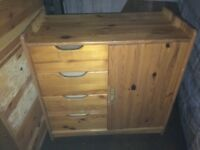 Pine cupboard with four draws and shelving