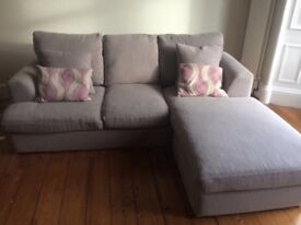 Next corner sofa. Grey linen. 1 year old.
