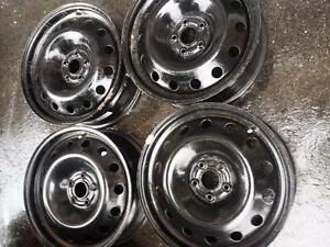 CHEVY CRUZE HUB CENTRIC EXACT FIT 17 INCH STEEL RIM SET OF FOUR. THE WHEELS HAVE TPM SENSORS.