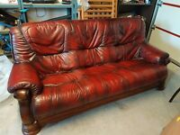 3+1+1 antique red leather suite (sofa + 2 chairs)