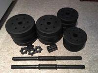 Adjustable Dumbbell/ Barbell Bar weights set 28kg
