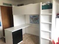 Ikea STUVA single loft/bunk bed frame with desk and shelves storage-White