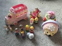 Happyland figures, school bus, horse & carriage, hedgehog