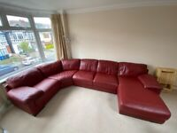 Italian red leather sofa (sits 5-7 people comfortably)