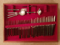Set of cutlery for sale in dated and well worn presentation case.