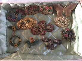 Vintage Hand- painted (enamel paint) Brooches, Buttons & Buckle
