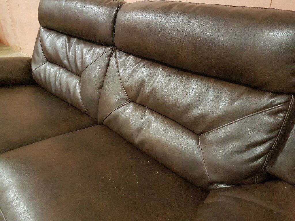Leather fully reclining sofa in brown VGC Delivery